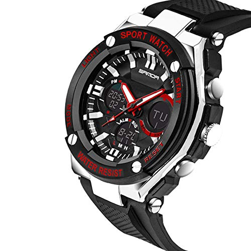 TUJHGF Men's and Women's Watches Outdoor Sports Multi-Function Waterproof Electronic Watch 50 Meters Waterproof,BlackAndRed