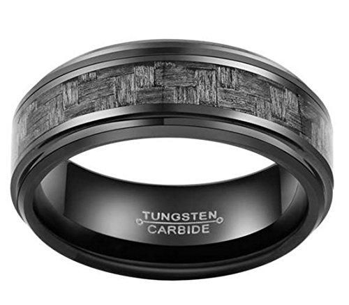 Mosaic Gray Carbon Fiber Men's Tungsten Ring (Mosaic Carbon)
