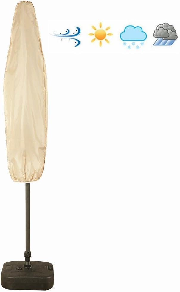 Patio Weatherproof Market Umbrella Cover with Zipper, Water Resistance, Outdoor Weatherproof, Beige Color