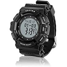 Spovan Mens Digital LED Sports Military Black PU Quartz Watches