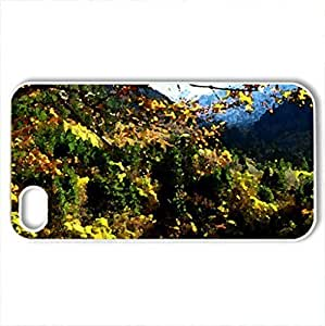 Autumn branches over the crystal lake - Case Cover for iPhone 4 and 4s (Lakes Series, Watercolor style, White)