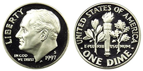1997 S Roosevelt Proof Silver Dime 10c DCAM US Mint ()