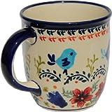 Polish Pottery Mug 12 Oz. From Zaklady Ceramiczne Boleslawiec 1105-214 Art Signature Pattern, Capacity: 12 Oz.