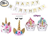 Bestus (28 pack) Unicorn Cake Topper with Eyelashes, Cupcake Wrappers and happy birthday banner./Unicorn Party Supplies,for Birthday Party, Baby Shower, Kids Party Decoration
