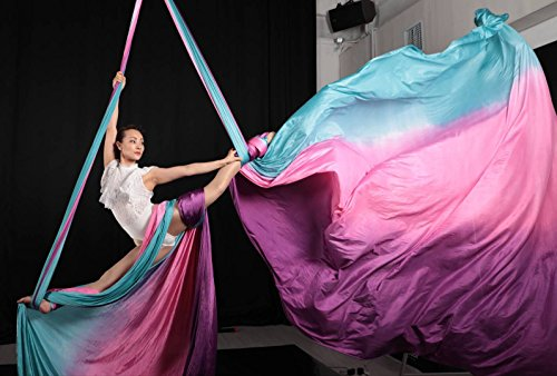 Ombre Aerial Silks Hand Dyed Aerial Fabrics for Aerial Yoga, Aerial Yoga Hammock, Aerial Acrobatic,Circus Arts, Aerial Dance (Electric Forest, Swivel Ring-13yard) … by F.Life (Image #2)
