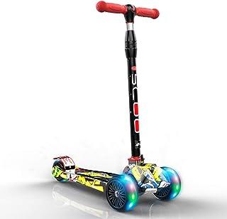 Trottinettes Scooter pour Enfants 3 Roues avec Roues Clignotantes en PU, à poignées en T, pédale Large à Hauteur réglable