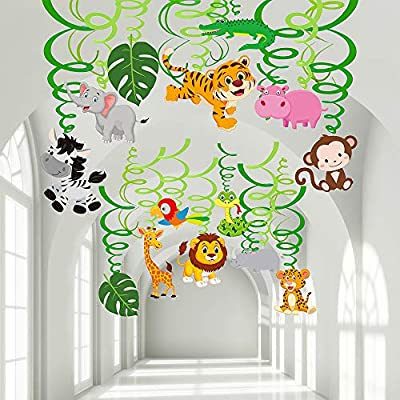 Supla 30 Pcs VBS Safari Jungle Animals Hanging Swirl Decorations Safari Party Swirls Streamers Hanging Ceiling Décor with Assorted Jungle Safari Animal Cutouts for Baby Shower Birthday Nursery Décor: Toys & Games