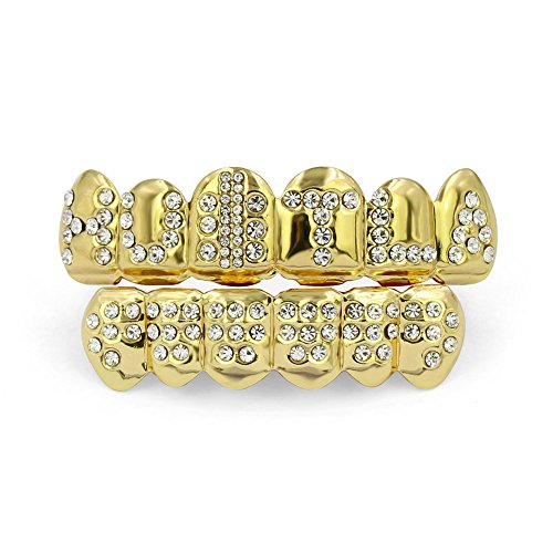 TOPGRILLZ 18K Gold Plated Hip Hop Iced out Hustla Top and Bottom Teeth Grills for Your Teeth by TOPGRILLZ