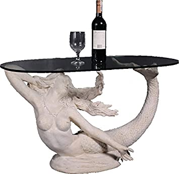 Marvelous Mermaid Table Roman Stone Finish With Glass Top 36.25u201dW