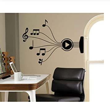Guitar Chord Wall Decals Musical Notes Vinyl Stickers On The Wall Of Music Decoration Artist Living Room Office Office Design 76x57cm Amazon Co Uk Diy Tools