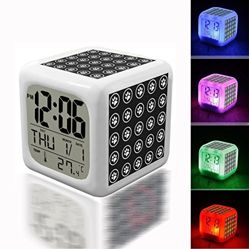 Digital Alarm Thermometer Night Glowing Cube 7 Colors Clock LED Customize the pattern 234.Paw Print Wallpaper Pattern Free Stock Photo - Public Domain Pictures