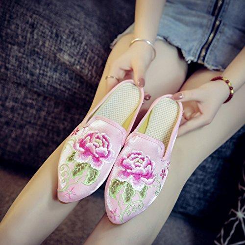 Yiblbox Womens Chinese Bloemen Satijn Borduurwerk Loafers Voor Vrouwen Puntige Teen Casual Muilezels Huis Backless Slip Op Slippers Schoenen Roze