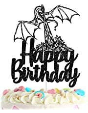 Dragon Happy Birthday Cake Topper - Animated film themed Game Party black Glitter Decoration Supplies