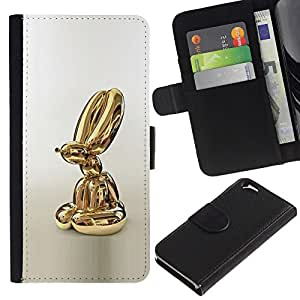 KLONGSHOP // Tirón de la caja Cartera de cuero con ranuras para tarjetas - Estatua de oro Globo Perro Animal - Apple Iphone 6 //