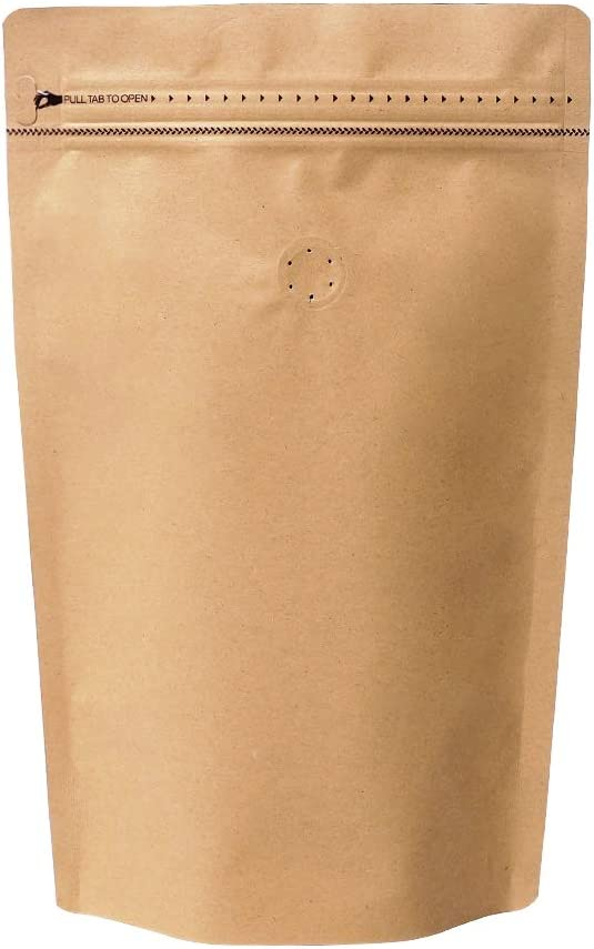 50 Pieces 8 Ounce Stand Up Coffee Bags - High Barrier Kraft Paper Coffee Pouches with Pull Tab Zipper & Degassing Valve, 50 pcs (8oz, 0.5lb, Natural Kraft)