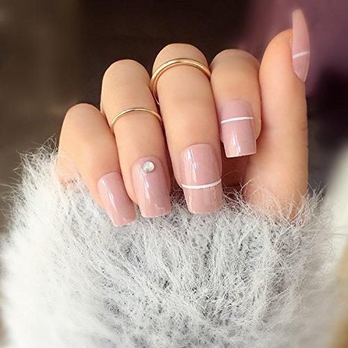 Amazon.com : 24PCS False Nails With Crystals Of Opal Full Cover Nail Tips Short Glitter Fake Nails Faux Acrylic Artificial Nails JZJ023 : Beauty