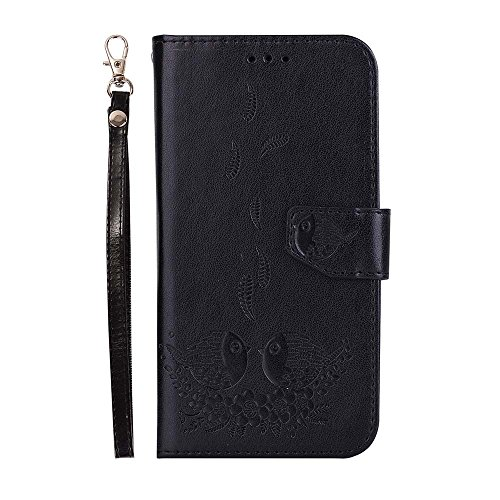 Detachable Pda Case - Galaxy S5 Case, Dfly Premium PU Leather Embossed Couple Bird Pattern Detachable Magnetic Case Design Card Slots & Wrist Strap Slim Flip Protective Wallet Cover for Samsung Galaxy S5 I9600, Black
