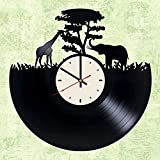African Savanna Vinyl Wall Clock African Animals Unique Gifts Living Room Home Decor
