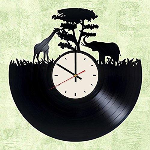 Giraffe Animal African Elephant vinyl record wall clock artwork gift idea for birthday, christmas, women, men, friends, girlfriend boyfriend and teens - living kids room nursery
