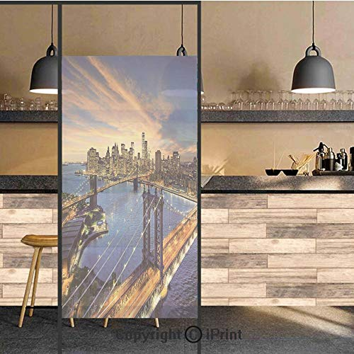 3D Decorative Privacy Window Films,American City Sunset Over Manhattan and Brooklyn Bridge Cityscape Picture Print,No-Glue Self Static Cling Glass film for Home Bedroom Bathroom Kitchen Office 24x48 I]()
