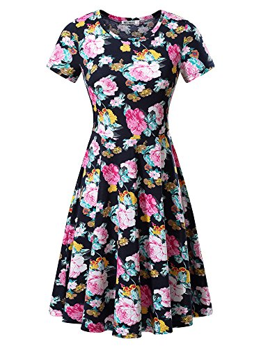 HUHOT Modest Dress, Women Black Floral Printed Short Sleeve Midi Casual ()