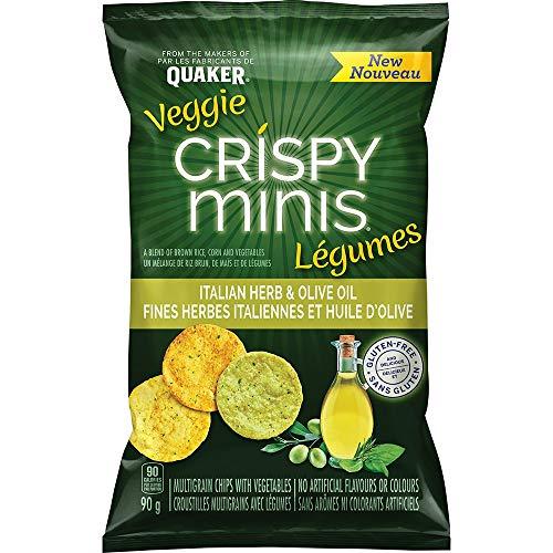 Quaker Crispy Minis Veggie Italian Herb & Olive Oil Multigrain Chips, 90 Grams (Imported from Canada)