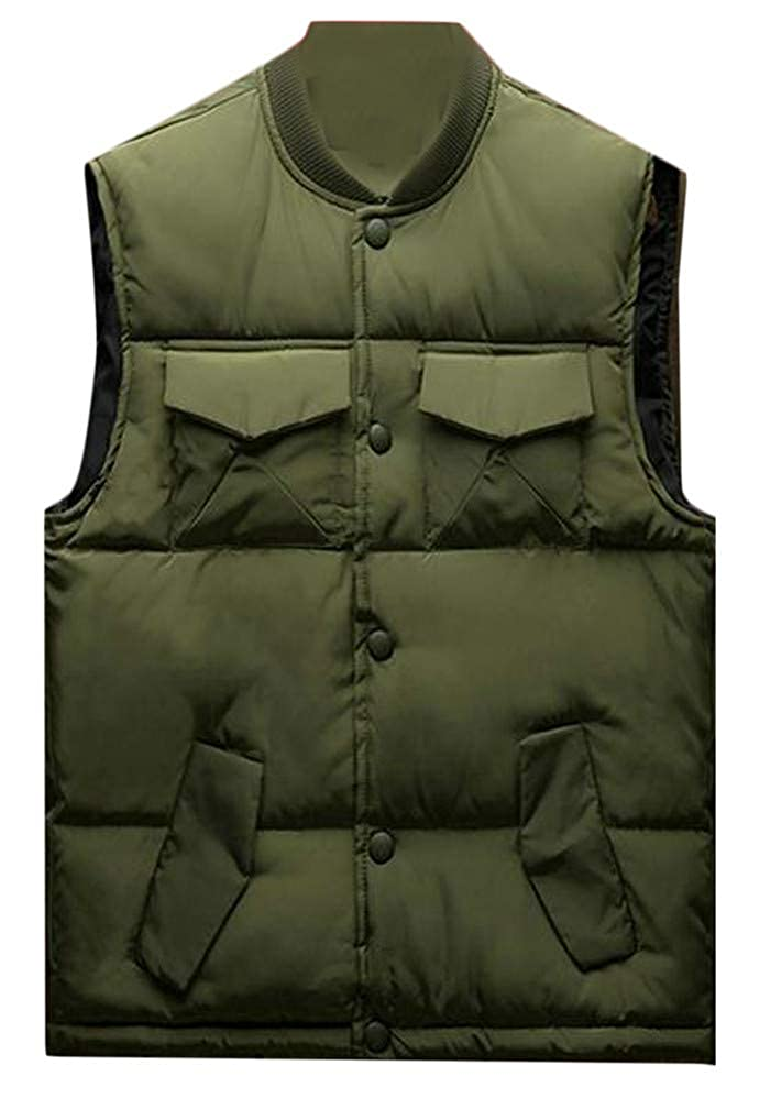 Etecredpow Mens Button Pocket Sleeveless Solid Quilted Jacket Down Vest