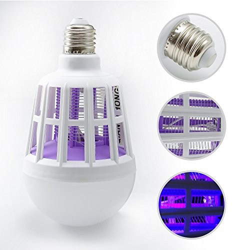 2 IN 1 Indoor Ourdoor Bug Zapper Bulb -Fits All Standard Bulb Sockets Covers 500 Sq. Ft.Fly Killer, UV Lamp Trap 1000V Electric Grid Zap 10W Insect Killer, Mosquito Killer For Residential, Commercial