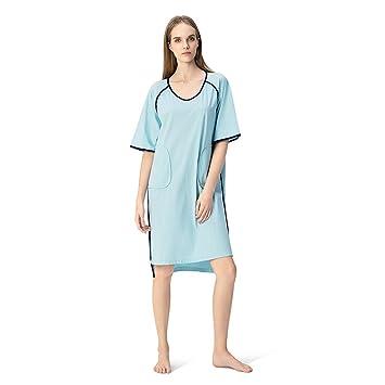 Pijamas de Vestido de Verano de Algodón Mercerizado Nuevas Mujeres Vestido de Algodón de Manga Corta