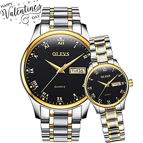 OLEVS His and Hers Watches Couple Matching Set, Business Casual Analog Quartz Luminous Wrist Watches for Women and Men, Classic Calendar Date Window Waterproof Titanium Steel Watches