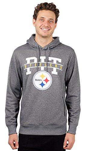 - ICER Brands Men's Fleece Hoodie Pullover Sweatshirt Zipper Pocket, Gray/Navy, Heather Charcoal, Medium