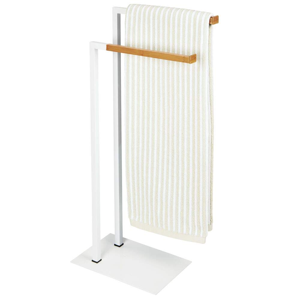 mDesign Tall Modern Metal and Bamboo Wood Towel Rack Holder - 2 Tier Organizer for Bathroom Storage and Organization Next to Tub or Shower, Holds Bath & Hand Towels, Washcloths - White/Natural