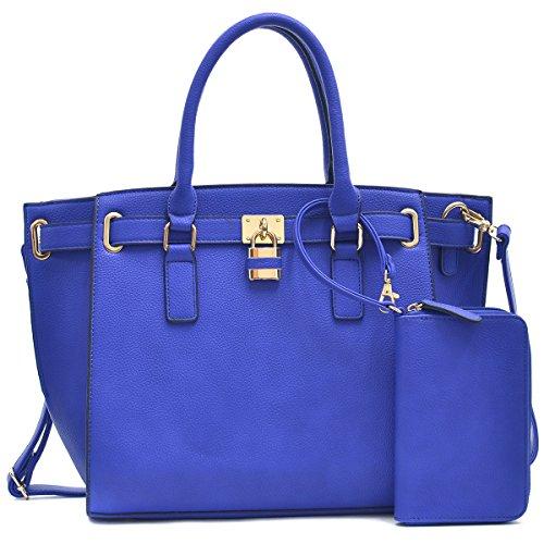 MMK Collection Fashion Handbag~Classic Women Purse ~Packlock Handbag for Women~ Signature fashion~ Designer Purse Perfect Women Satchel Purse ~ Beautiful Women Satchel Purse (FN-03-6487BL) by Marco