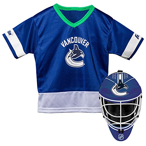 Franklin Sports Vancouver Canucks Kid's Hockey Costume Set - Youth Jersey & Goalie Mask - Halloween Fan Outfit - NHL Official Licensed Product