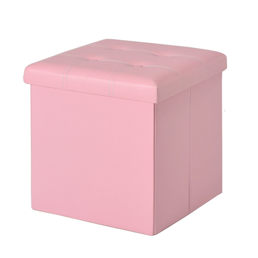 Amazon.com: Foot Stool Folding Storage Box Cube Pouffe Chair MDF Seat Square Ottoman with Lid and Faux Leather Support Upholstered Footrest for Hallway ...