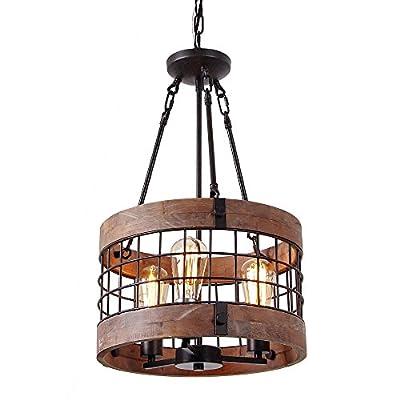 Anmytek Round Wooden Chandelier Metal Pendant Decorative Lighting Fixture Retro Rustic Antique Ceiling Lamp