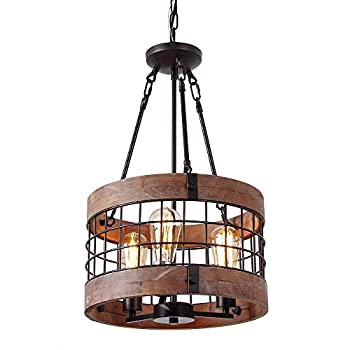 Image of Home and Kitchen Anmytek Round Wooden Chandelier Metal Pendant Three Lights Decorative Lighting Fixture Retro Rustic Antique Ceiling Lamp (Three Lights)