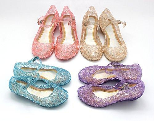 Vokamara Aschenputtel Mädchen Keilabsatz Sandalen Kristallglas Schuhe Cinderella Party Schuhe Lila