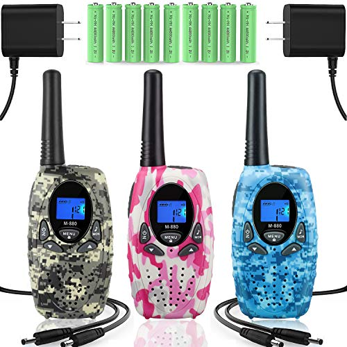 Topsung 3 Walkie Talkies Rechargeable for Adults, M880 FRS Rechargeable Two Way Radios Long Range with Charger Batteries, Upgraded Version Portable Walky Talky for Camping (Camo Blue Green Pink) by Topsung (Image #8)