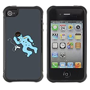 Hybrid Anti-Shock Defend Case for Apple iPhone 4 4S / Snowman Crime Scene