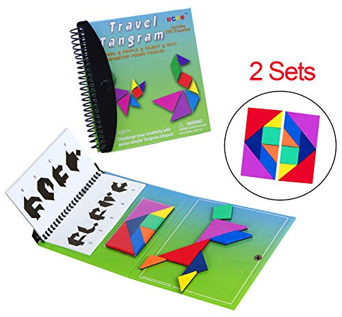 USATDD Tangram Game Green Magnetic Puzzle Travel Games Jigsaw with Solution Questions Kid Adult Challenge IQ Book Colorful Shapes Educational Toy for 3-100 Years Old 【2 Set of Tangrams 360 Patterns】