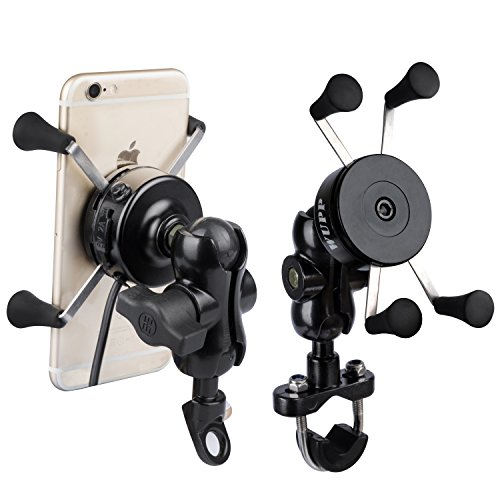 TurnRaise Aluminum Motorcycle Car Cell Phone Mount Bracket Stand Holder w/ USB Charger for iPhone 5 5s 6 6Plus/ Samsung Galaxy and Smartphones