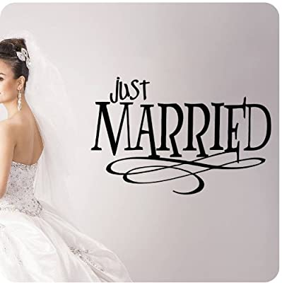 Just Married Wedding Anniversary Celebration Party Gift Wall Decal Dance Floor Quote Large Sticker ART Mural Large Nice Bride Groom Love Decoration Decor