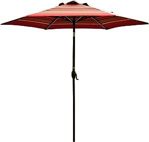 Abba Patio Striped Patio Umbrella 9-Feet Outdoor Market Table Umbrella with Push Button Tilt and Crank, Red Striped