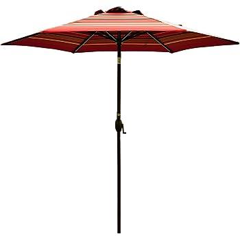 Abba Patio Striped Patio Umbrella 9 Feet Outdoor Market Table Umbrella With  Push Button Tilt And Crank, Red Striped