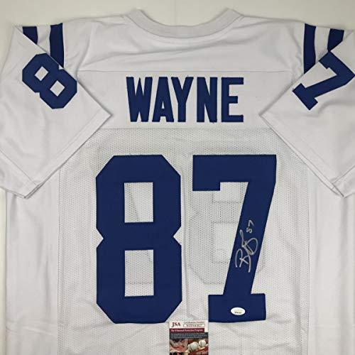 (Autographed/Signed Reggie Wayne Indianapolis White Football Jersey JSA COA)