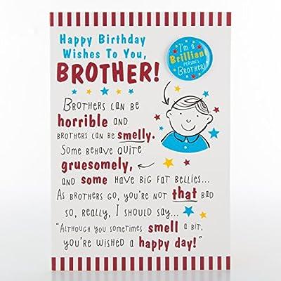 Amazon Brother Hallmark Humour Funny Birthday Card With Badge