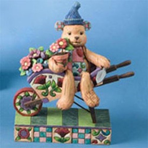 JIM SHORE BEAR IN WHEELBARROW - FLOWER BEAR - Jim Shore Teddy Bear