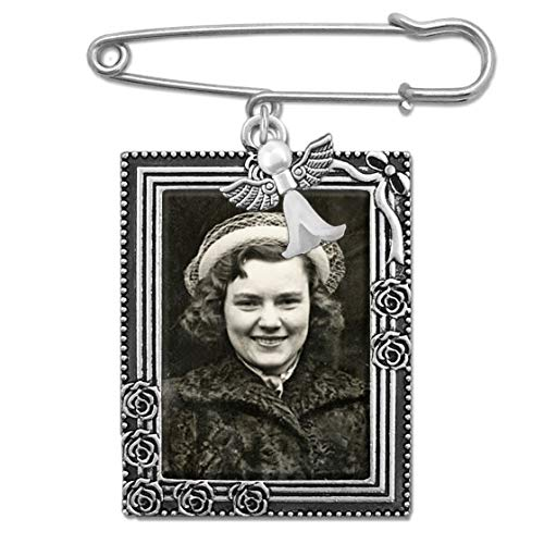 Wedding Boutonniere Bouquet Charm Guardian Angel Pin Rose Portrait Frame Photo Charm Mother of The Bride Groom w/Photo Resizing Software ()