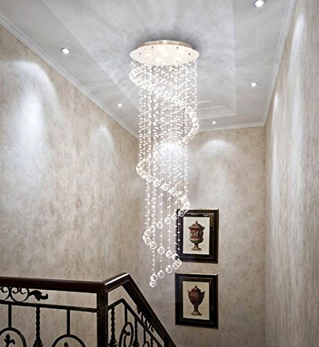 Crystal Chandeliers Spiral Sphere Rain Drop Spectacular Ceiling Lighting Flush Mount Fixture Chandelier, Crystal Ball Ceiling Light for Living Room Hotel Hallway Foyer Entry Way Romantic (NF-9027-6)